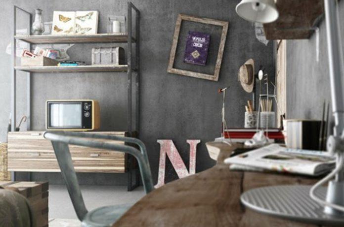 móveis em ferro e de madeira menos trabalhada, mesclando o estilo industrial com o rústico através dos enfeites fazendo uma decoração bem atrativa