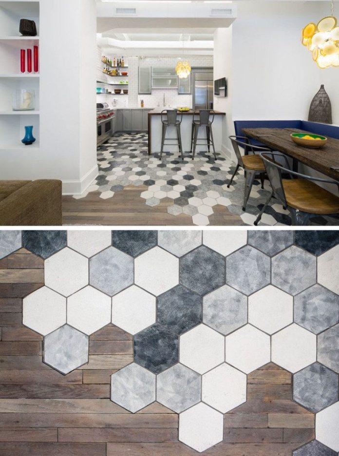 divisória de ambientes com revestimento hexagonal